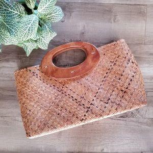 Old Navy wooden handle woven handbag